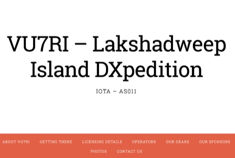 VU7RI Lakshadweep Island DXpedition