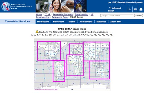 ITU CIRAF zones maps
