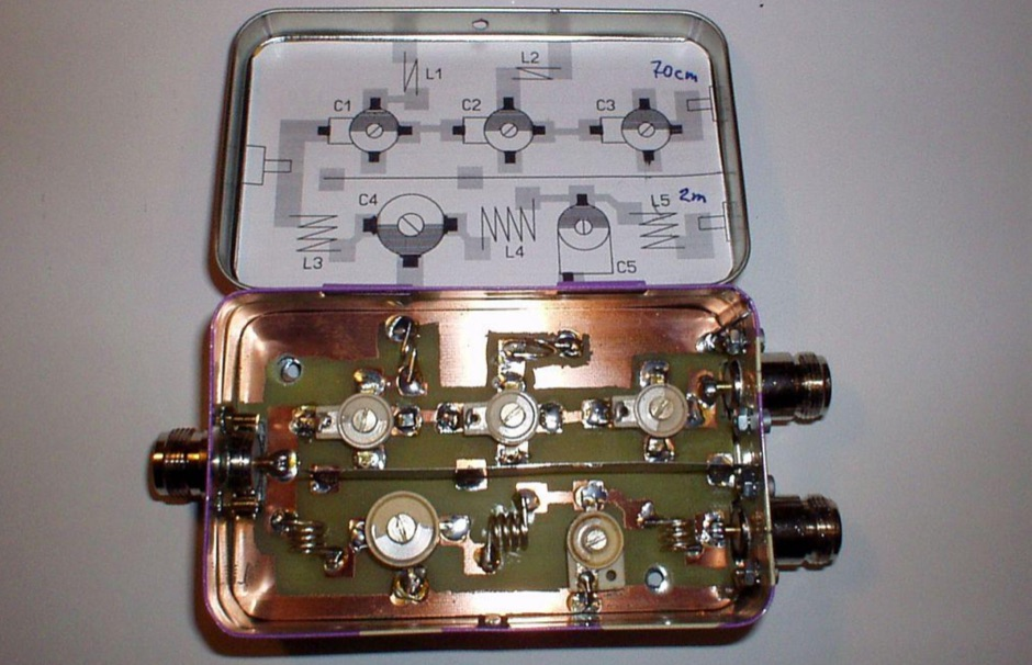 Diplexer construction 2m/70cm and SW/VHF