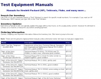 Test equipment manuals